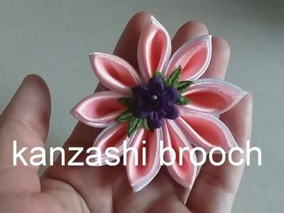 1) DIY- tutorial membuat bros kanzashi.kanzashi brooch