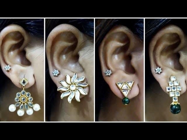 4 Easy Stud Earring Design   DIY   5 min Craft   Hand made jewellery   Paper Earrings making at home