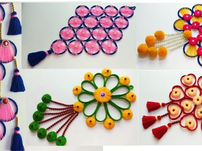 5 BEAUTIFUL WOOLEN WALL HANGING CRAFT IDEA OUT OF WASTE PLASTIC BOTTLE AND WASTE BANGELS