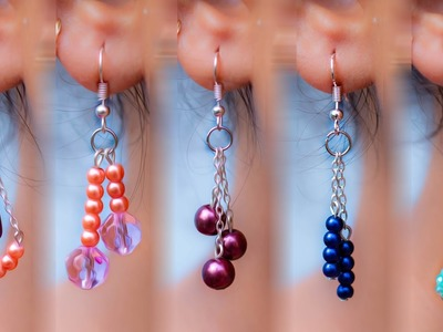 5 easy Pearl & Crystal Earring Design | DIY | 5 min Craft | Hand made jewelry | Crafty Butterfly