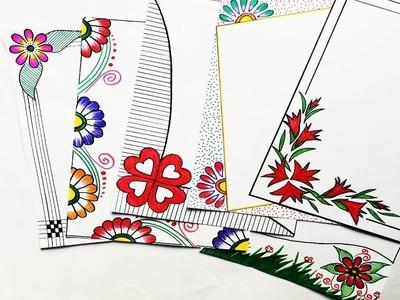 6 Beautiful Border Design | Video #182  | Arts and Craft