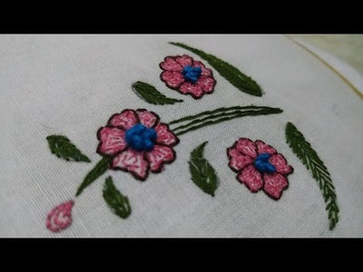 Beautiful hand embroidery flower design for beginners || needle craft