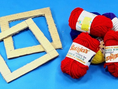 Best craft idea with old cardboard & Woolen | Best out of waste | Waste material reuse idea
