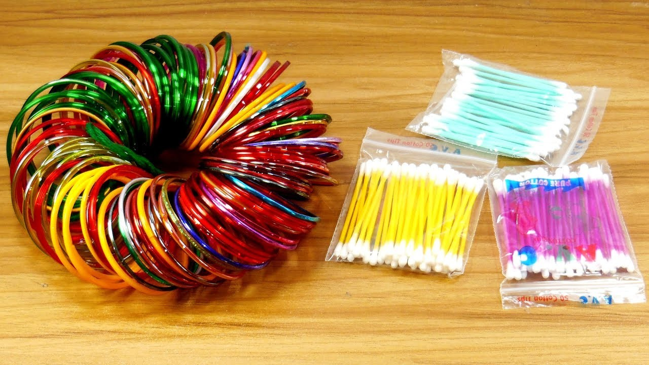 Best craft with cotton buds & Old bangles | DIY arts and crafts | DIY cotton buds
