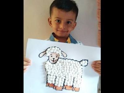 #DIY Art # How to make cotton ball Sheep. cotton craft