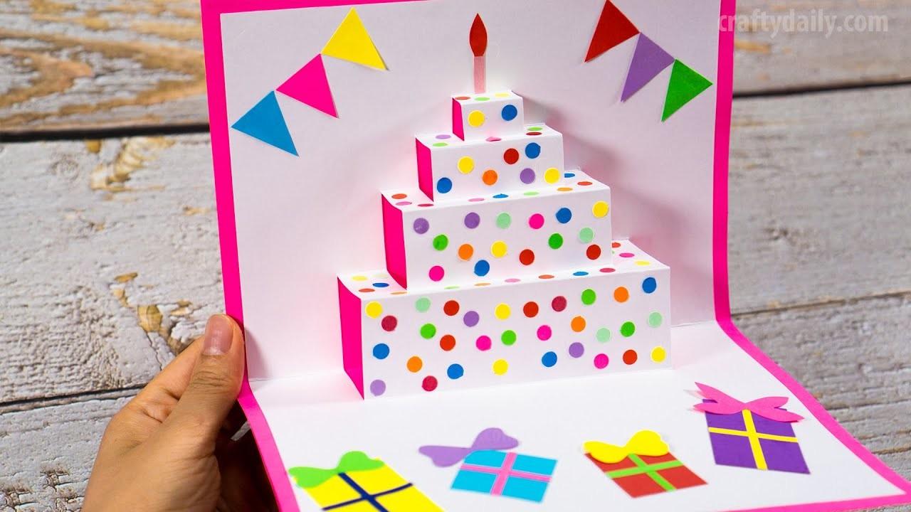 diy birthday cake pop up card easy pop up card tutorials