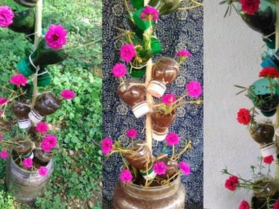DIY craft home made flowers pot tree. How to make in tamil