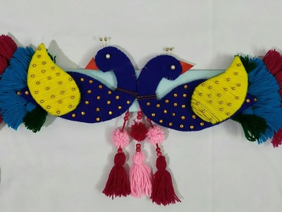 DIY Easy door hanging toran.Peacock hanging decoration.wollen toran.wollen craft ideas
