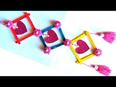 Diy How to make wall hanging from popsicle sticks | popsicle craft | diy wall hanging idea