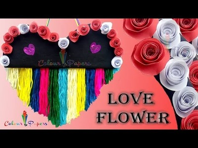 DIY Love Flower Card.Handmade card.Valentine's day gift idea.Tutorial For Scrapbook.ColourPapers