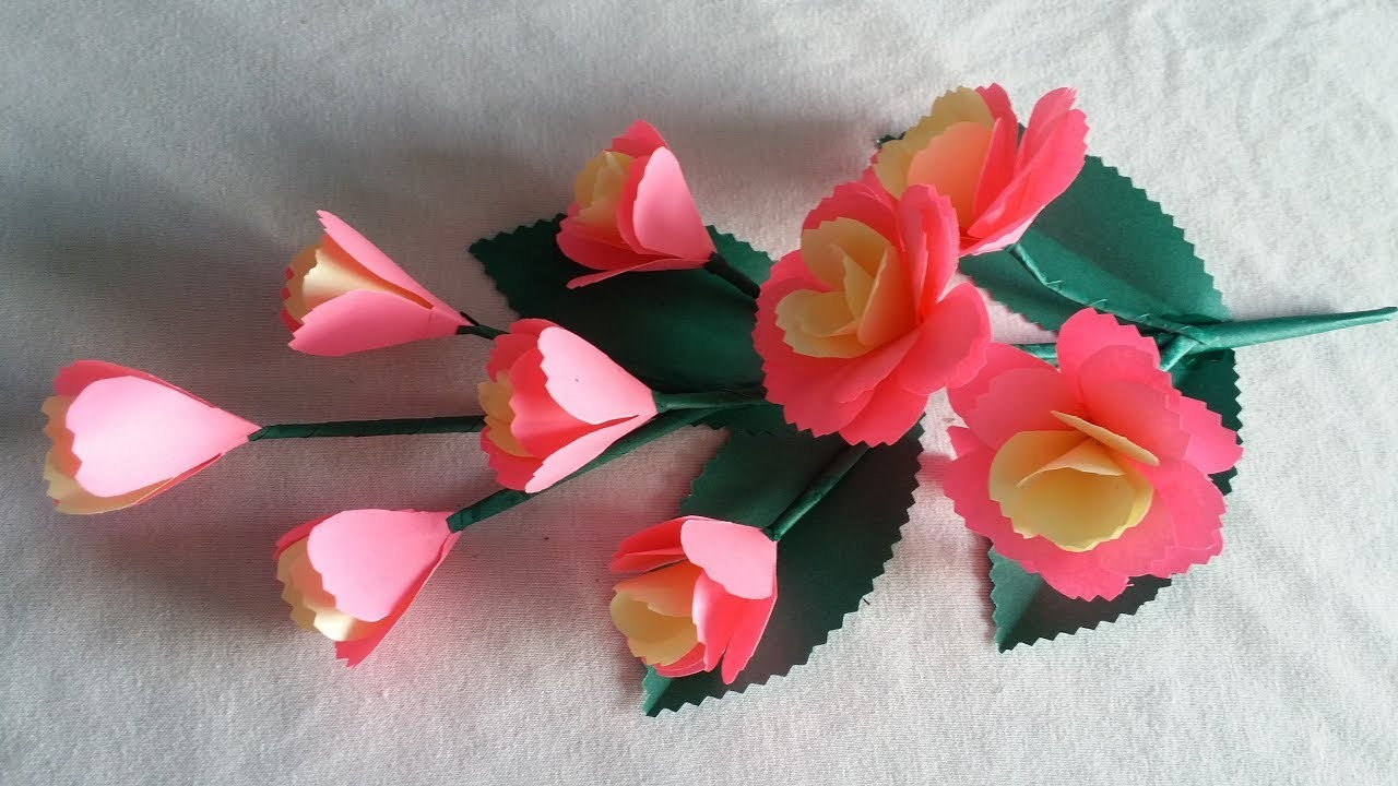 DIY Paper Flower Making Tutorial | How to Make Paper Flower | Paper Craft