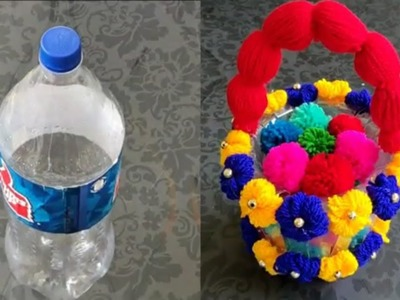 DIY - PLASTIC BOTTLE CRAFT IDES | BEST OUT OF WASTE \\ BEST REUSE PLASTIC  BOTTLE CRAFT WITH WOOLEN.