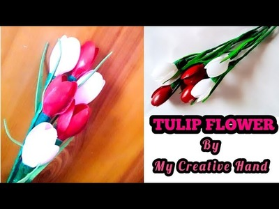 Diy Tulip flower out of plastic spoon|plastic spoon craft|diy plastic spoon craft