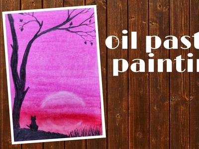 Easy cat pink light scenery #oilpastel #pinklightpainting #oilpasteldrawing | Art and craft idea |