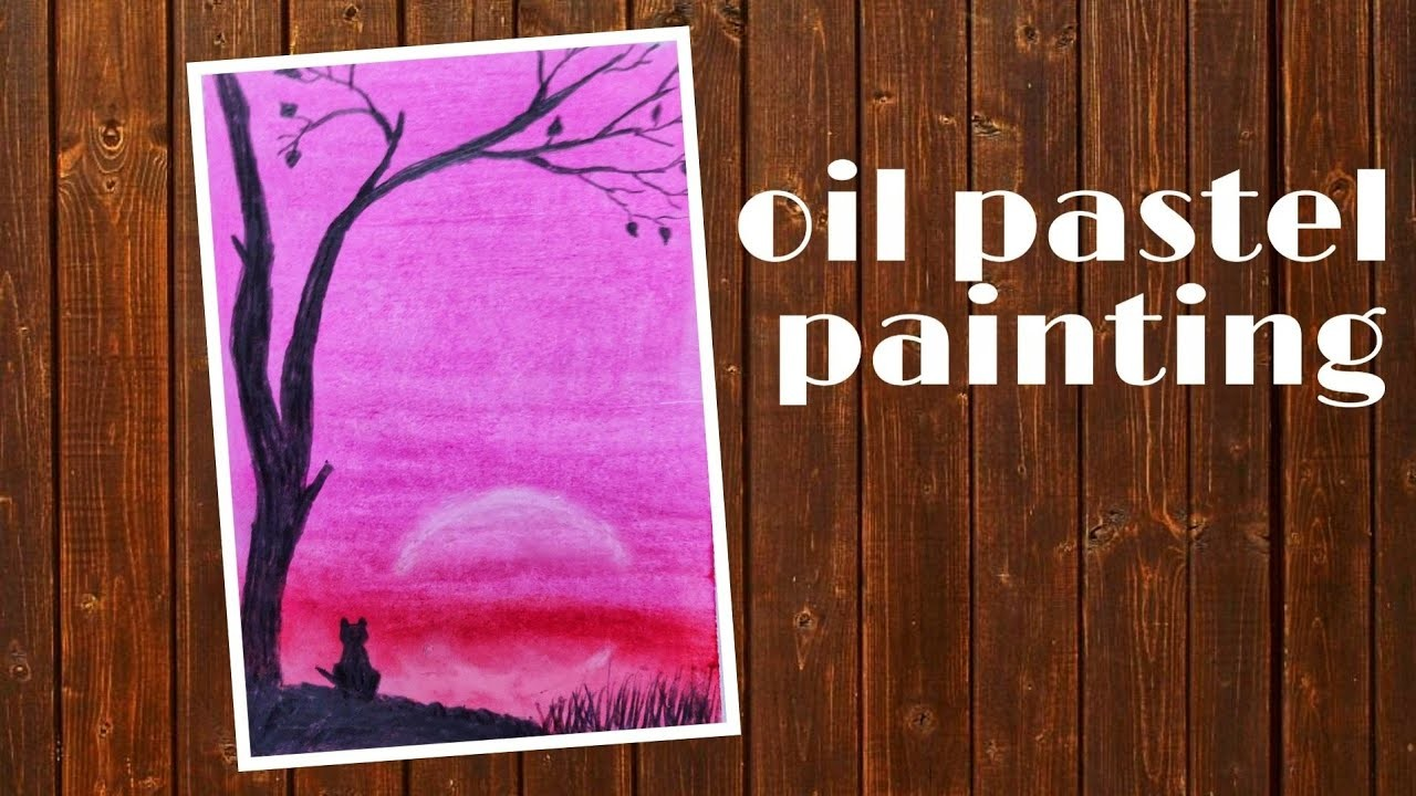 Easy cat pink light scenery #oilpastel #pinklightpainting #oilpasteldrawing | Art and craft idea |