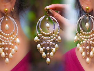 Easy Long Pearl Earring Design   DIY   5 min Craft   Hand made jewelry   Art with Creativity