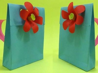 How To Make a Paper School Bag   DIY Flower Decorated Pre School Bag Making for Kids