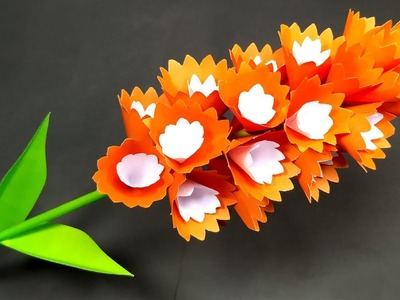 How to Make Flower with Paper | DIY Making Paper Stick Flower Tutorial | Jarine's Crafty Creation