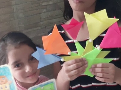 Kids art |Origami tulips |kids craft ideas with Shivika and Ishvika|paper flowers |paper tulips