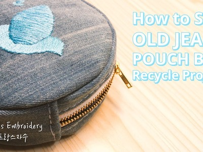 Old Jeans Crafts Recycle DIY Project - How to Sew Circle Denim Make up Pouch Bag(Blue bird)