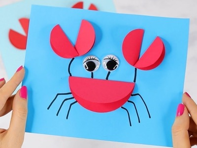 Paper Circle Crab Craft - easy paper craft for kids