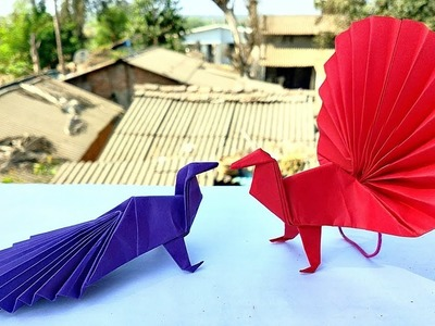 Paper Peacock - Time Lapse || Origami Peacock || DIY