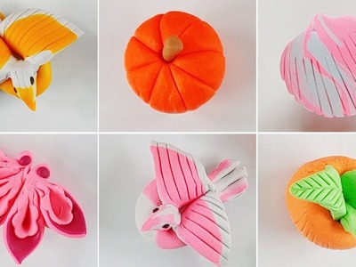Pumpkin Bird Clam Flower Clay Craft #Kids #Baby #Play-Doh #Bird #Pumpkin - TT TOY