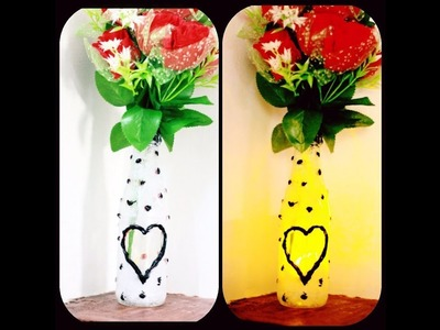 Sauce bottle ഇനി കളയേണ്ട.glass bottle craft.flower vase with light.vaiga's world. .