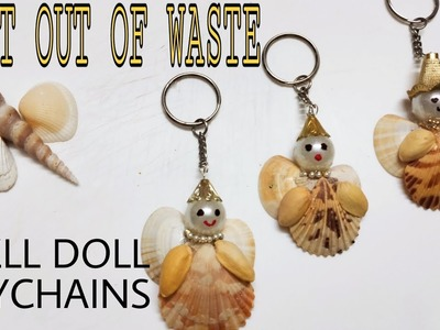 SHELL DOLL KEYCHAINS || BEST OUT WASTE SHELL CRAFT FOR KIDS BY MRS HOME