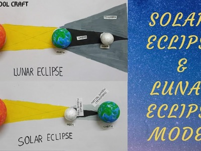 Solar eclipse and lunar eclipse| Easy making of the eclipses| School Craft|