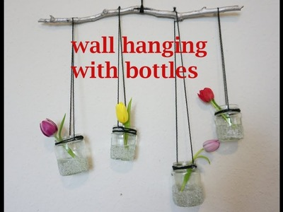 Wall hanging with bottles jar| craft wall hanging ideas