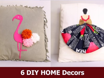 6  DIY HOME Decors Cushion Covers ( VERY EASY ) | Easy Room Decor Ideas by Aloha Crafts