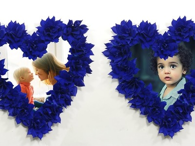 Beautiful Paper PHOTO FRAME ???? DIY Flower Photo Frame ???? Homemade Photo Frame Making Tutorial