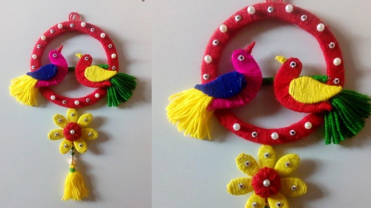 Birds wall hanging!! DIY easy woolen bird wall hanging!! Bird showpieces