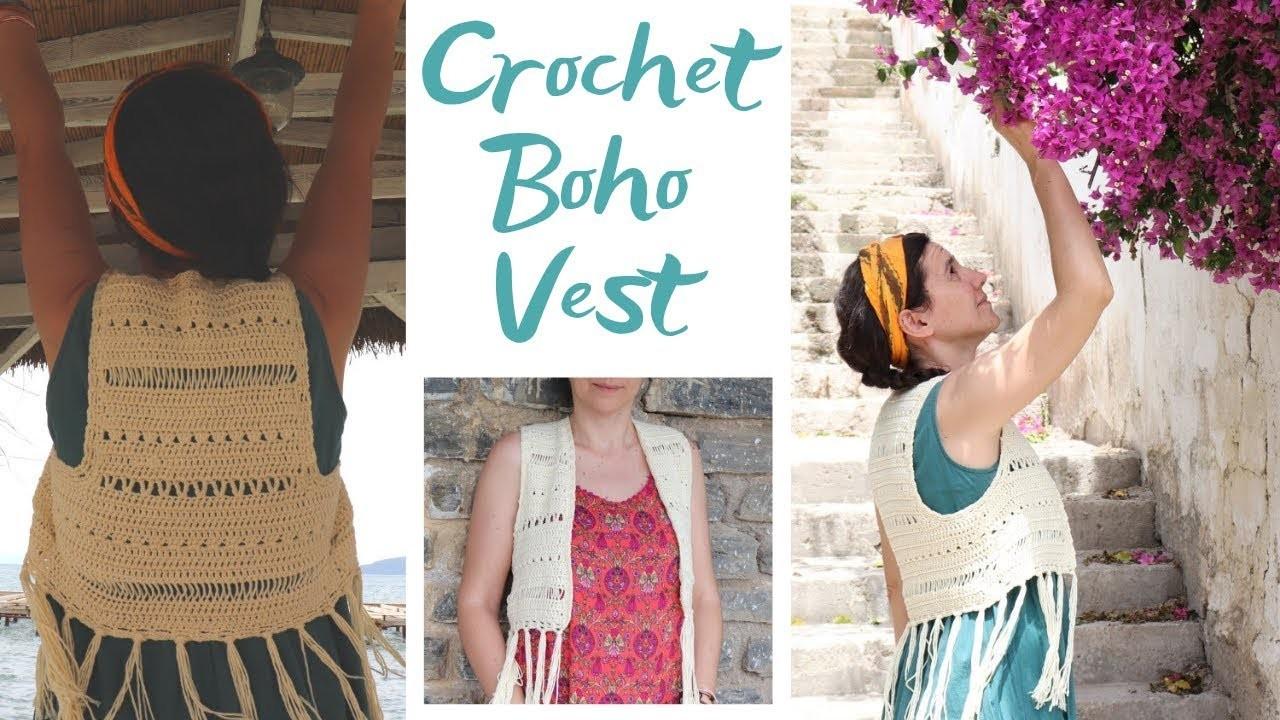Crochet Boho Vest Easy Tutorial