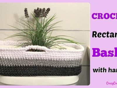 Crochet Rectangle Basket with Handles