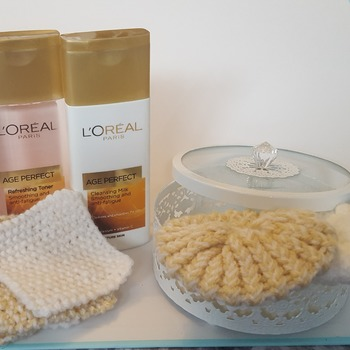 Crocheted face pads and scrubbies set washable reusable