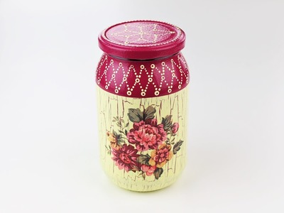 Decoupage jar - Painted jar - Decoupage tutorial - DIY painted glass - decoupage for beginners