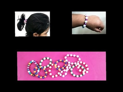 DIY.Easy making wrist band.hair Rubberbands.friendship bands for kids at home.pearls art works