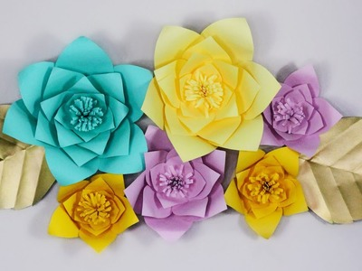 DIY GIANT PAPER FLOWERS! | Easy step by step tutorial