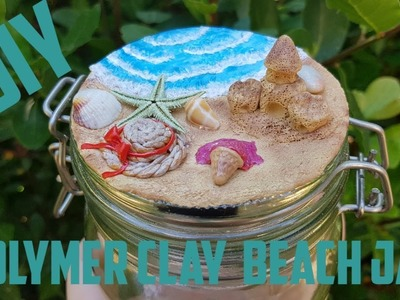 DIY Polymer Clay Beach Jar #polymerclay