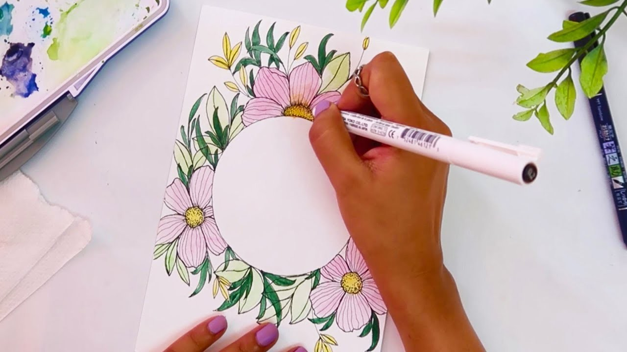 Drawing + Painting Tutorial for Beginners | Watercolor Painting Ideas | Diy Greeting Cards