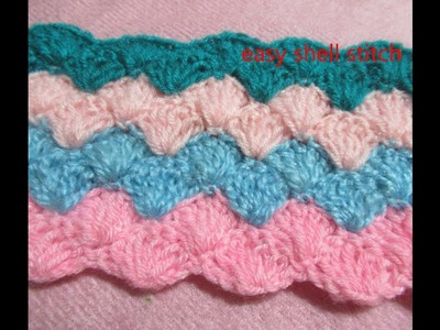 Easy crochet shell stitch -grate for kids blanket ,sweater , shawl multicolour  shell stitch