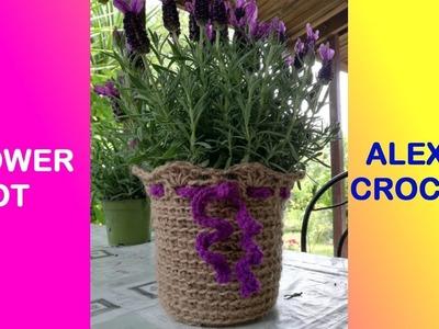 FLOWER POT COZY OVER TOP EASY TUTORIAL ALEX CROCHET pattern