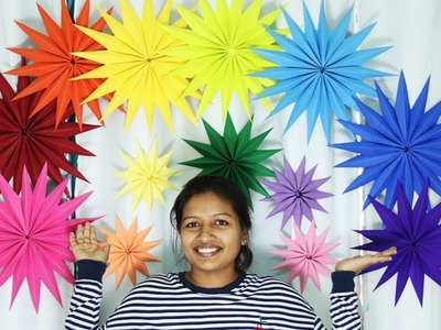 Giant Paper Star Wall Decoration - DIY Easy Birthday Decoration Ideas