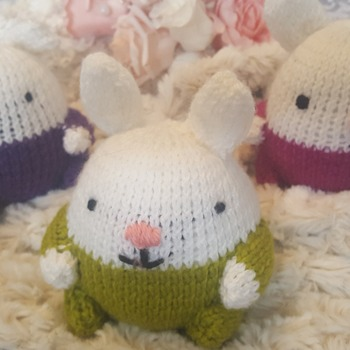 Hand knitted ball bunny soft toy