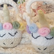 Hand knitted little unicorn basket