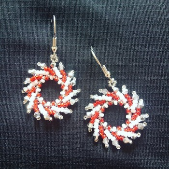 Handmade Red White Silver Windmill Earrings Jewellery