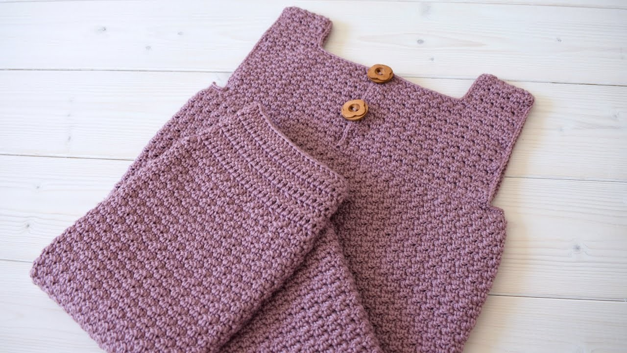 How to crochet baby. children's textured dungarees - The Rowen Dungarees