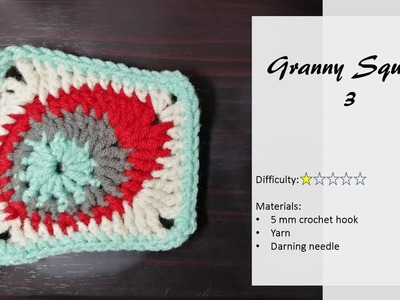How to crochet granny square using crochet pattern #2